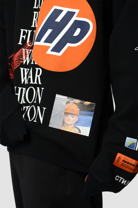 HERON PRESTON Collage Black Hoodie  4