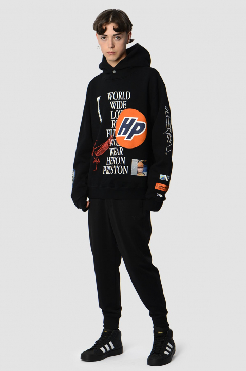 HERON PRESTON Collage Black Hoodie  6