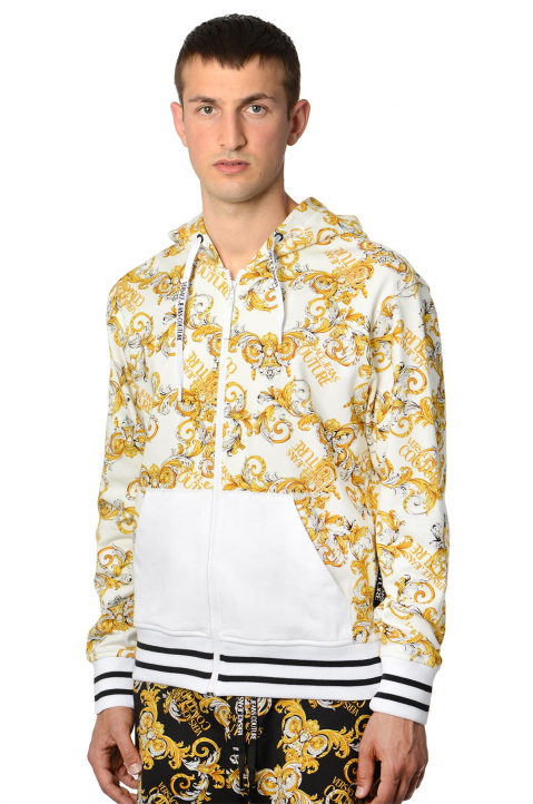 VERSACE JEANS COUTURE Barocco White Zip Hoodie  0