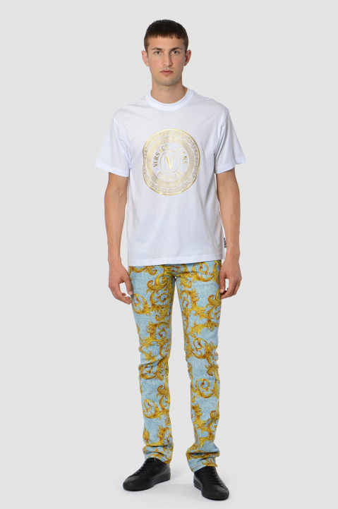 VERSACE JEANS COUTURE Gold Foil Logo White Tee 2