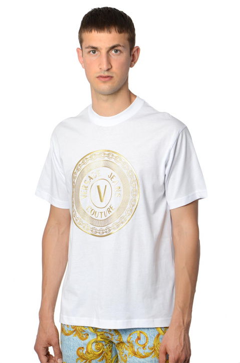 VERSACE JEANS COUTURE Gold Foil Logo White Tee 0