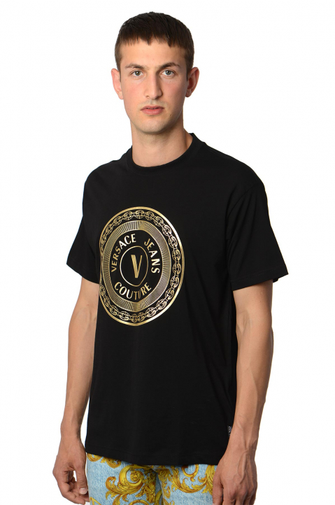 VERSACE JEANS COUTURE Gold Foil Logo Black Tee 0