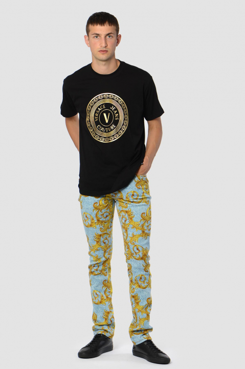 VERSACE JEANS COUTURE Gold Foil Logo Black Tee 2