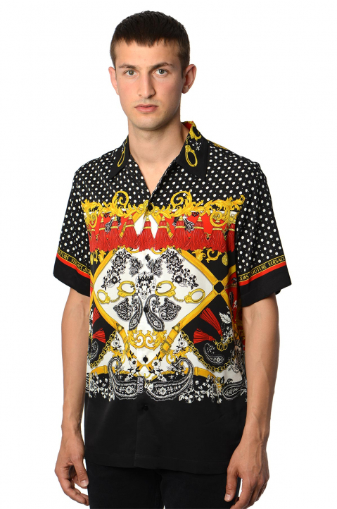 VERSACE JEANS COUTURE Polka Dot Barocco Black Shirt 0
