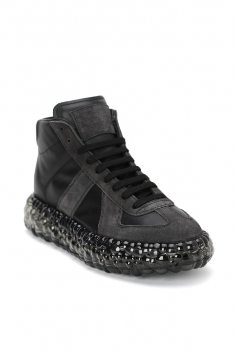 MAISON MARGIELA Replica Caviar Black Hi Top Sneakers  1