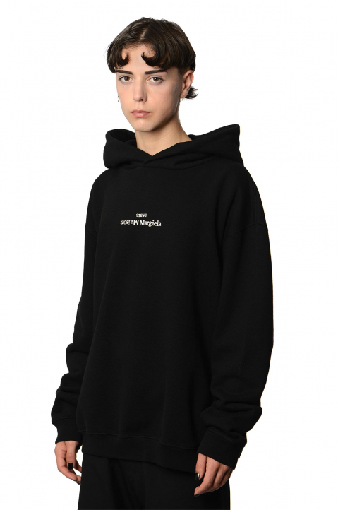 MAISON MARGIELA Inverted White On Black Oversized Hoodie 0
