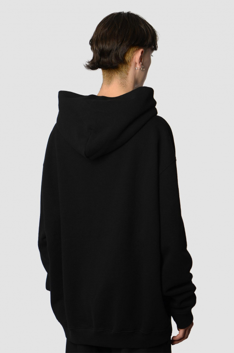MAISON MARGIELA Inverted White On Black Oversized Hoodie 1