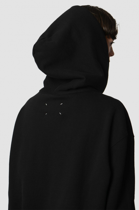 MAISON MARGIELA Inverted White On Black Oversized Hoodie 2