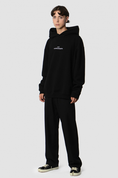MAISON MARGIELA Inverted White On Black Oversized Hoodie 4