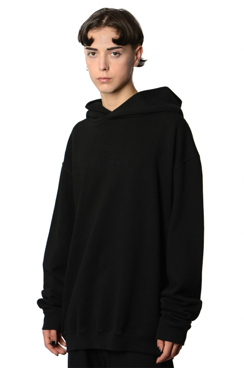 MAISON MARGIELA Inverted Black On Black Oversized Hoodie 0