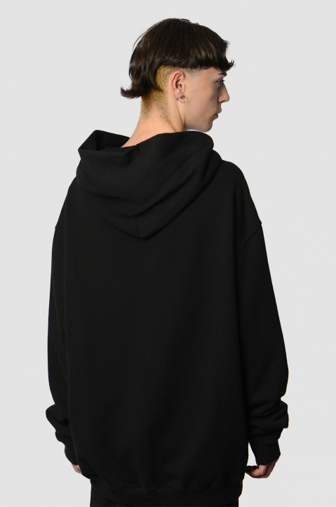 MAISON MARGIELA Inverted Black On Black Oversized Hoodie 1