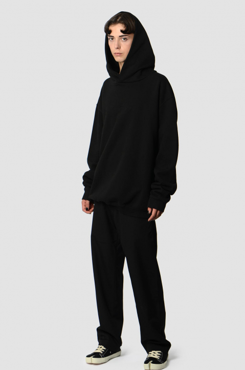 MAISON MARGIELA Inverted Black On Black Oversized Hoodie 3