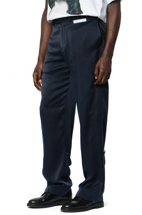 OFF-WHITE Formal Navy Silk Trousers 0