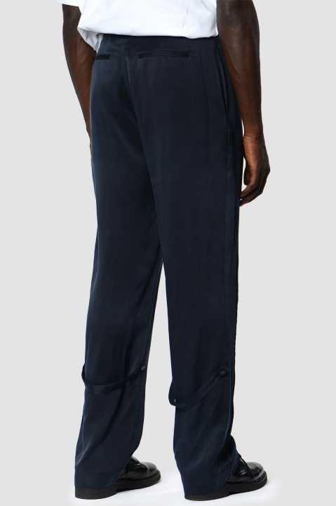 OFF-WHITE Formal Navy Silk Trousers 1