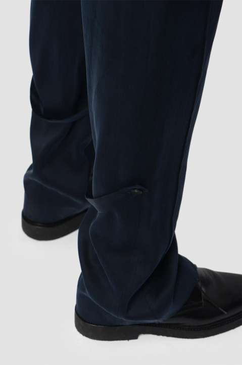 OFF-WHITE Formal Navy Silk Trousers 2