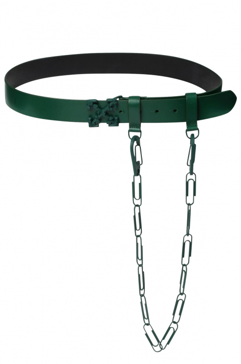 OFF-WHITE Chain Arrows Dark Green Belt  1