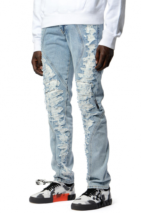 OFF-WHITE Slim Contour Distressed Jeans 0