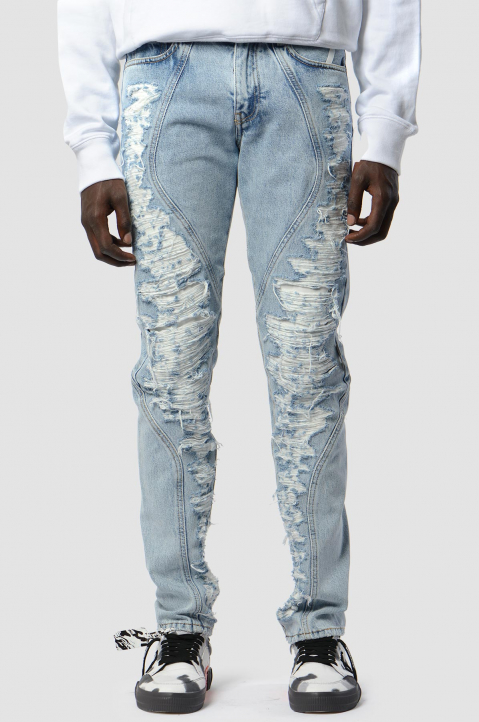 OFF-WHITE Slim Contour Distressed Jeans 1