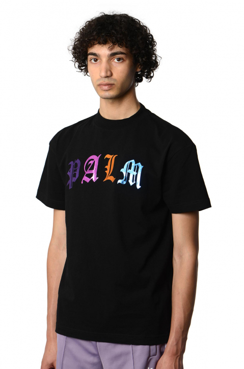 PALM ANGELS Gothic Multicolor Logo Black Tee 0
