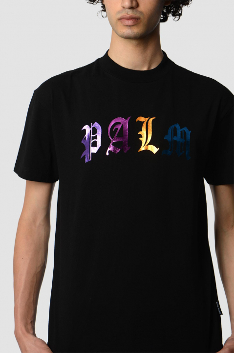 PALM ANGELS Gothic Multicolor Logo Black Tee 2