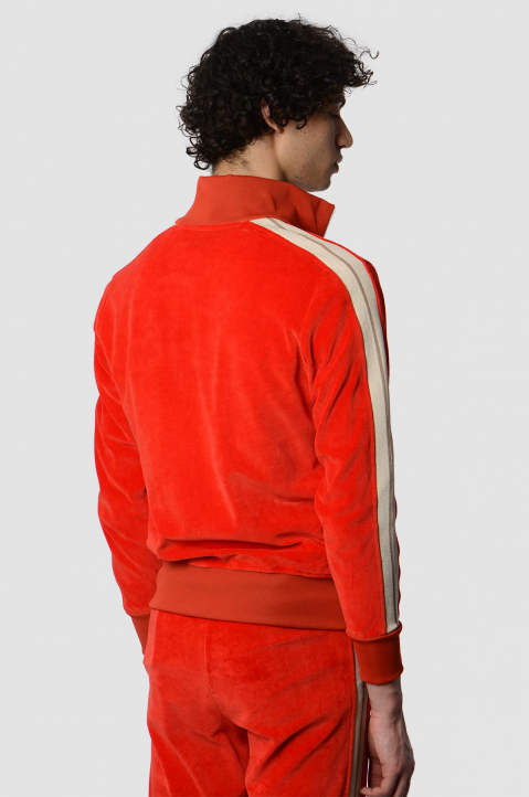 PALM ANGELS Chenille Red Track Jacket 1