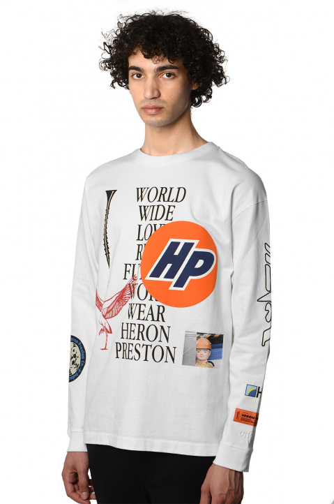 HERON PRESTON Collage White LS Tee 0