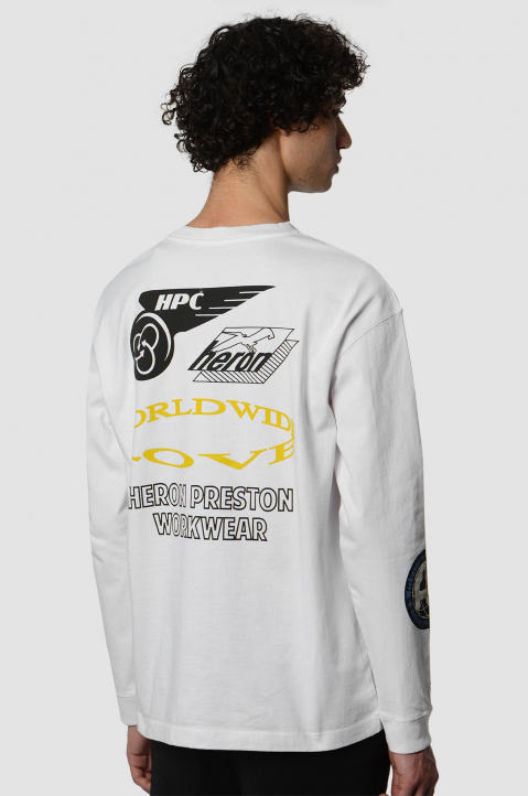 HERON PRESTON Collage White LS Tee 1