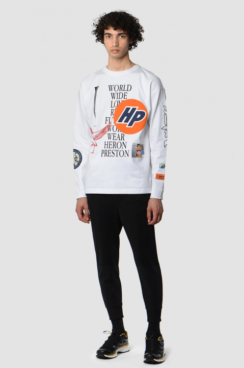 HERON PRESTON Collage White LS Tee 3