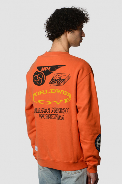 HERON PRESTON Collage Orange Sweatshirt 1