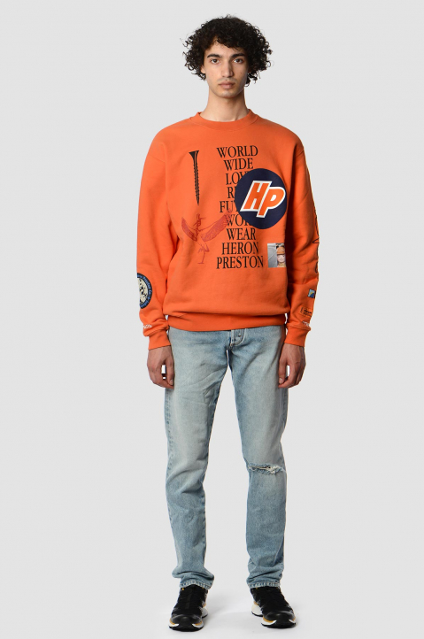 HERON PRESTON Collage Orange Sweatshirt 2