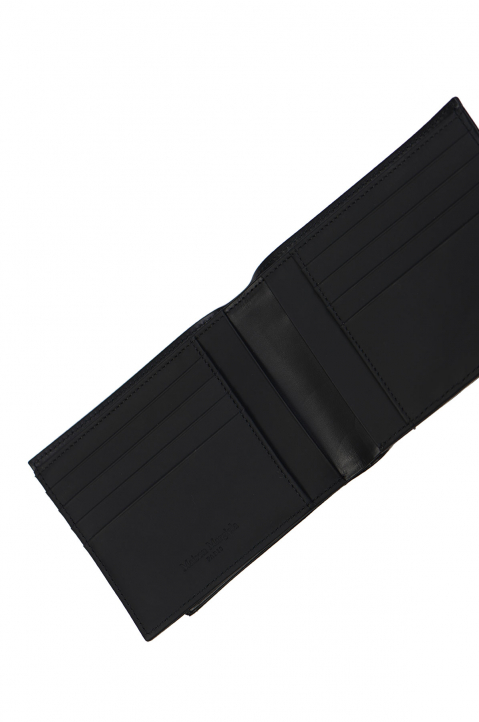 MAISON MARGIELA Matte Black Leather Zip Wallet  2