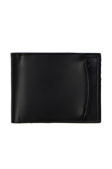 MAISON MARGIELA Matte Black Leather Zip Wallet  1