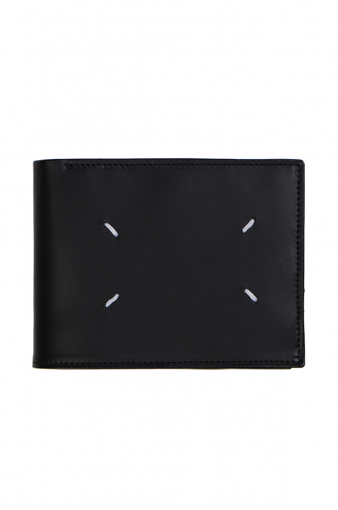 MAISON MARGIELA Matte Black Leather Zip Wallet  0