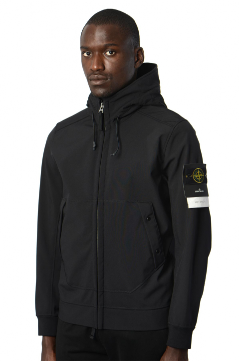 STONE ISLAND Softshell Black Hooded Jacket  0