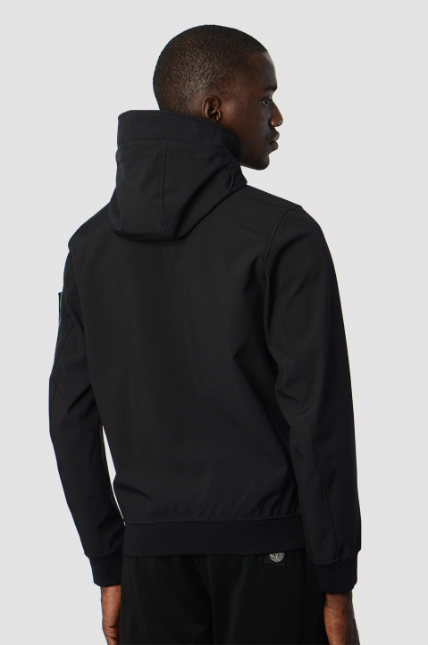 STONE ISLAND Softshell Black Hooded Jacket  1