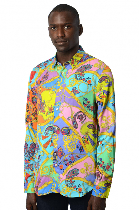 VERSACE JEANS COUTURE Paisley Fantasy Pink/Blue Shirt 0
