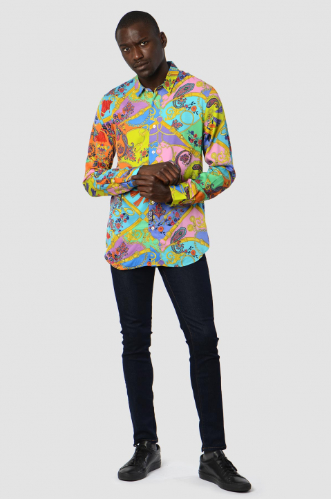 VERSACE JEANS COUTURE Paisley Fantasy Pink/Blue Shirt 3