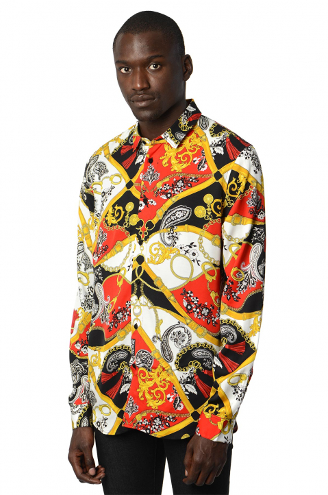 VERSACE JEANS COUTURE Paisley Fantasy Red/ Black Shirt 0