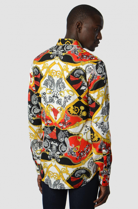 VERSACE JEANS COUTURE Paisley Fantasy Red/ Black Shirt 1