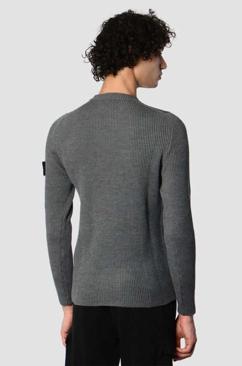 STONE ISLAND Grey Ribbed Knit Sweater 1