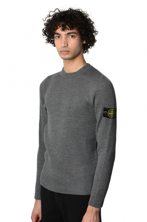 STONE ISLAND Grey Ribbed Knit Sweater 0