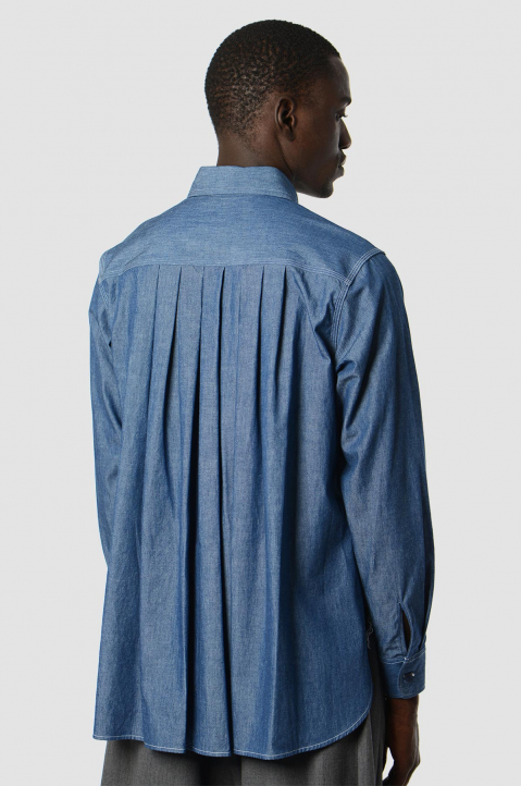 FUMITO GANRYU Denim Pleated Shirt 1