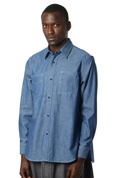 FUMITO GANRYU Denim Pleated Shirt 0