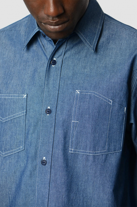 FUMITO GANRYU Denim Pleated Shirt 2