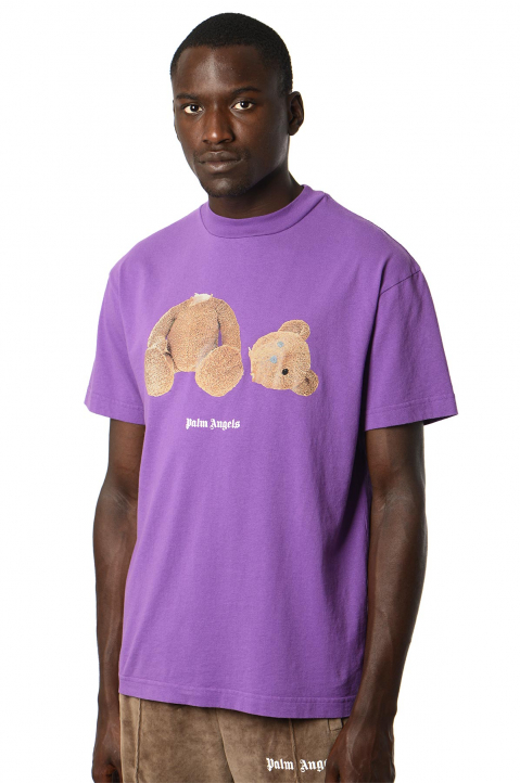 PALM ANGELS Purple Bear Tee  0
