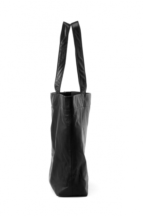 DISCORD Large Black Leather Tote 2
