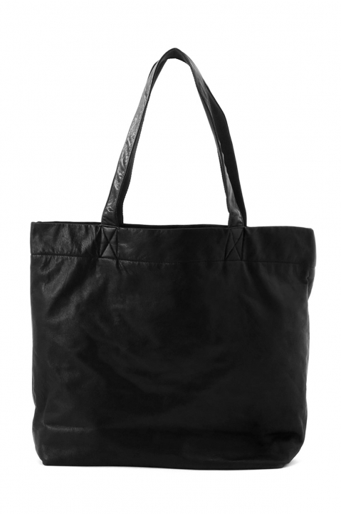 DISCORD Large Black Leather Tote 1