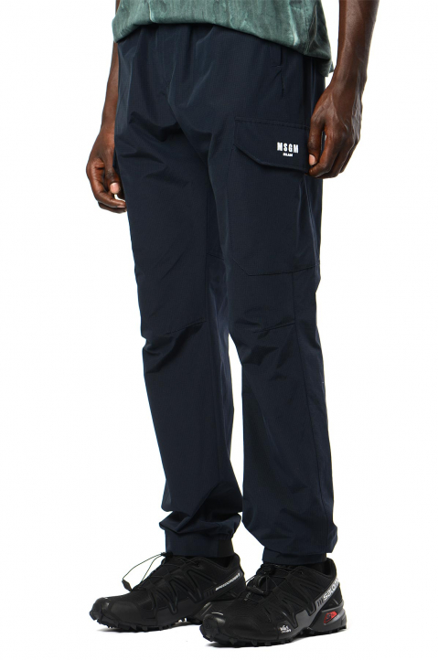 MSGM Navy Cargo Trackpants 0