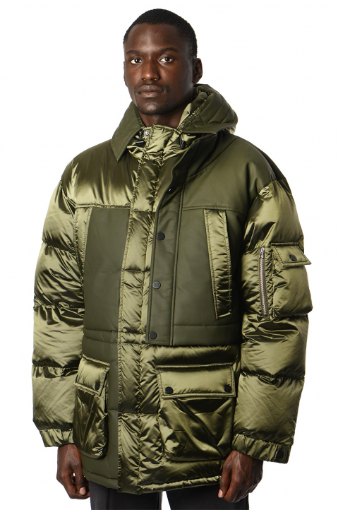 FENG CHEN WANG Army Green Paneled Long Down Jacket 0