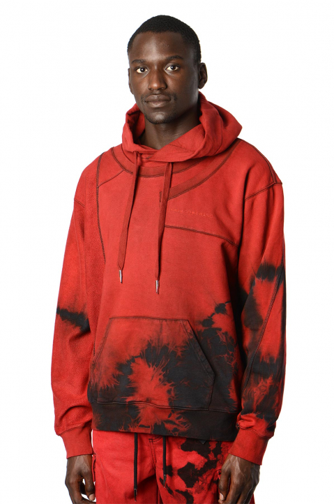 FENG CHEN WANG Terry Cotton Layer Red Hoodie  0